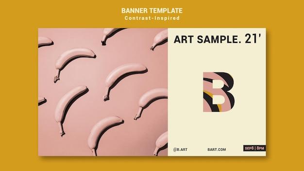 Op contrast geïnspireerde bannersjabloon voor kunstexpo