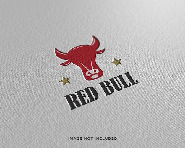 Op papier geperst logo mockup