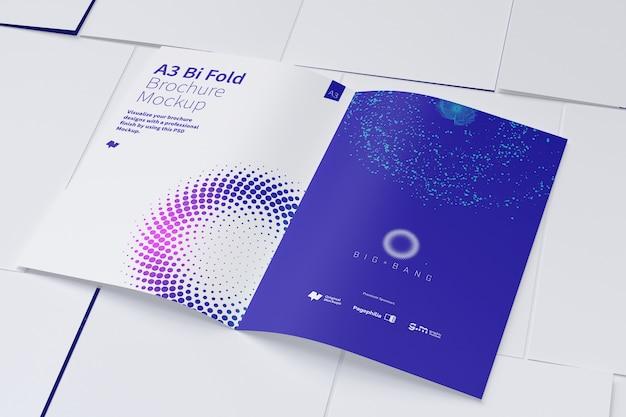 Open bi fold brochure mockup