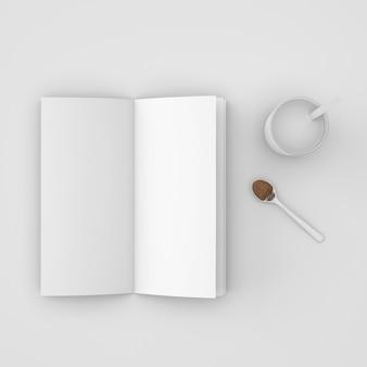 Open boek en lepel met koffie