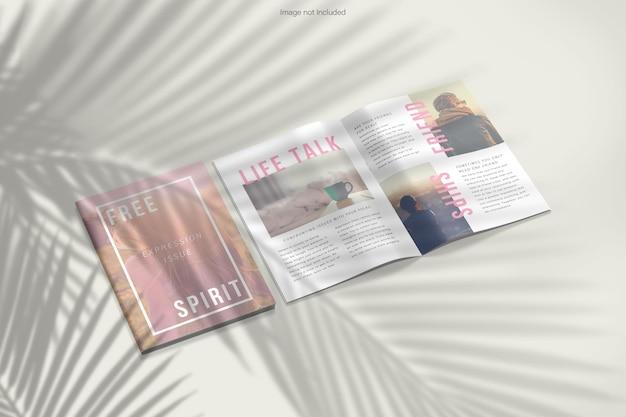 Open en gesloten tijdschrift mockup design rendering