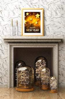 Open haard met decoraties en frame voor het nieuwe jaar