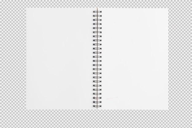 Open schets notitieblok geïsoleerd op een witte achtergrond