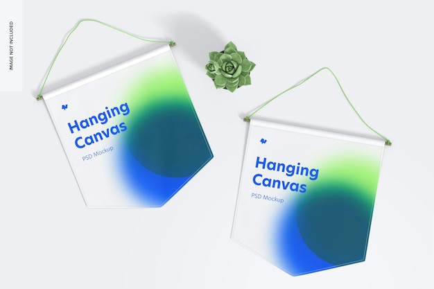 Opknoping canvas wimpels mockup