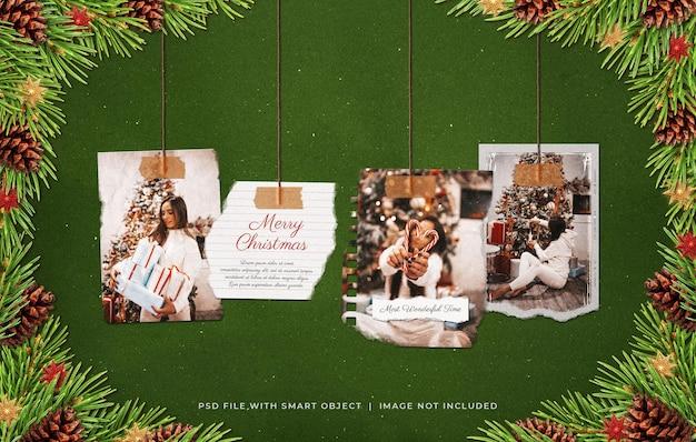 Opknoping kerstgroet gescheurde foto film frame moodboard mockup