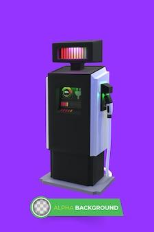 Oplader voor elektrische voertuigen. 3d illustratie