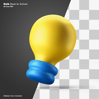 Oplossing idee gloeilamp 3d pictogram rendering bewerkbare kleur geïsoleerd