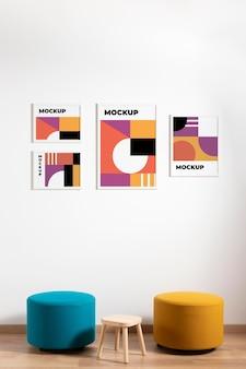 Opstelling van decoratieve mock-up frames