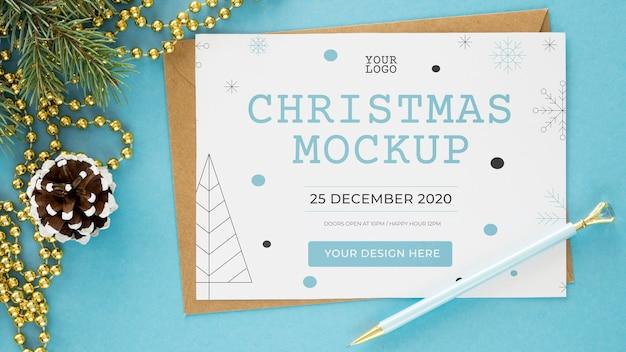Opstelling van kerstavond elementen mock-up