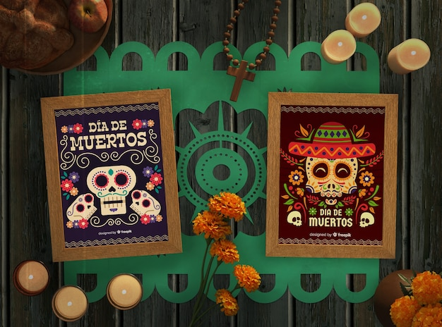 Opstelling van mexicaanse schedel mock-ups en kaarsen van dia de muertos