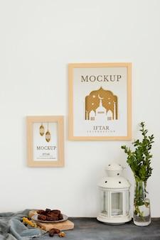 Opstelling van mock-up ramadan-frame binnenshuis