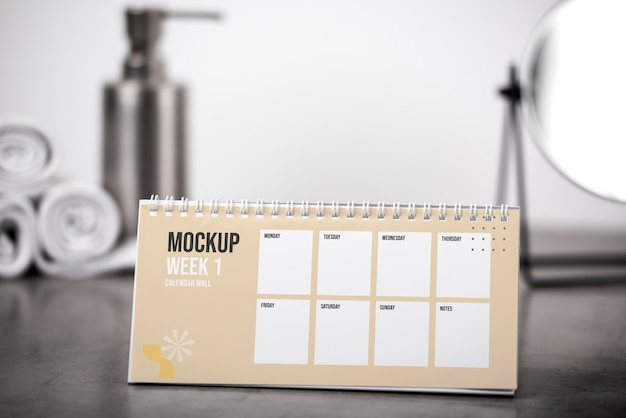 Opstelling van mock-up tafelkalender binnenshuis
