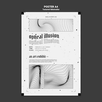 Optische illusie kunsttentoonstelling poster sjabloon