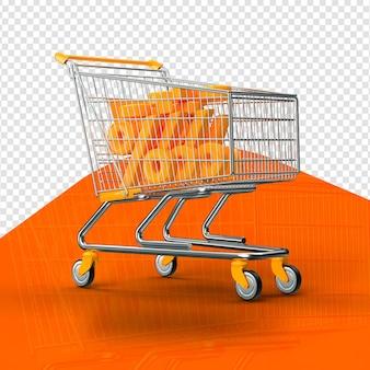 Oranje 3d geïsoleerd boodschappenwagentje