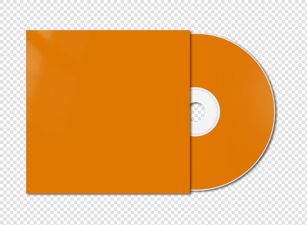 Oranje cd - dvd mockup sjabloon geïsoleerd op wit