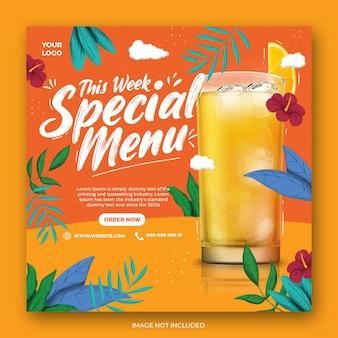Oranje drankje menu promotie sociale media instagram-sjabloon