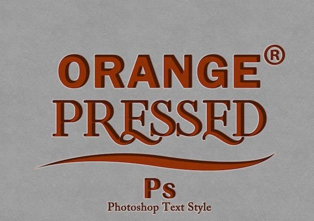 Oranje druk op tekststijleffect