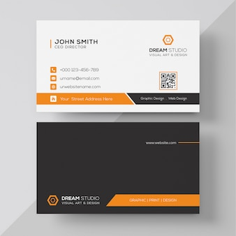 Oranje elegante bedrijfskaart