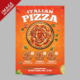 Oranje italiaanse pizza poster sjabloon