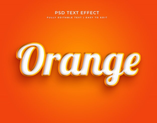 Oranje kleur 3d stijlvol bewerkbaar teksteffect