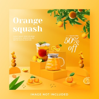 Oranje squash drankje menu promotie sociale media instagram post-sjabloon voor spandoek