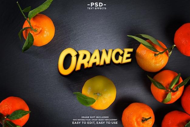 Oranje teksteffect sjabloon premium psd
