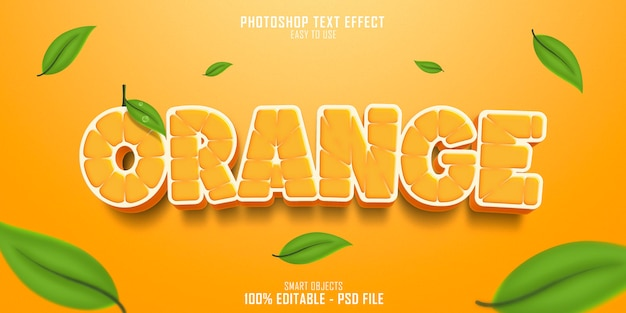Oranje tekststijl effect sjabloon