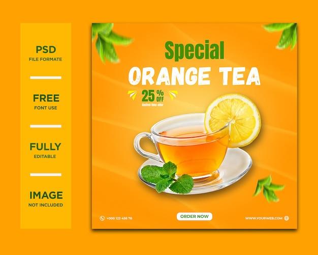Oranje thee social media postsjabloon premium psd