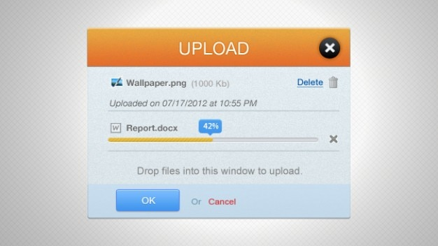 Oranje upload voortgangsbalk-interface