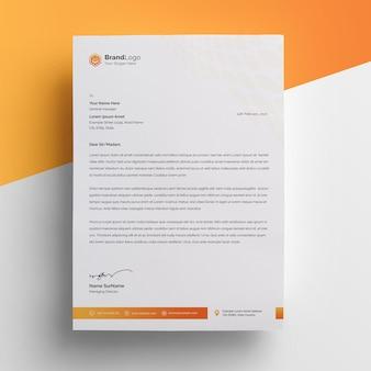 Oranje verloop briefpapier template