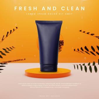 Oranje vers podium met plant en vloeistof in glazen vierkant