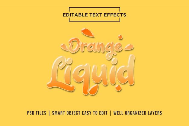 Oranje vloeibaar teksteffect