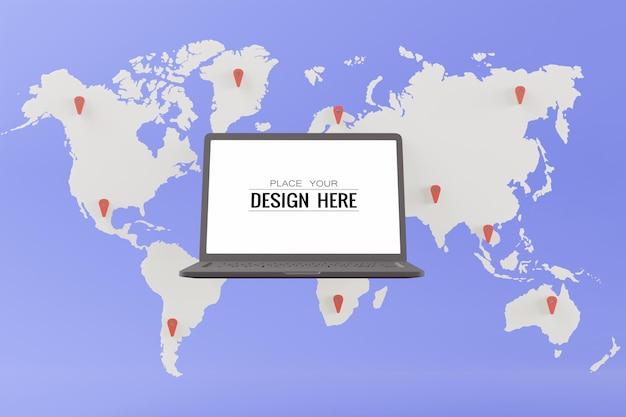 Ordenador portátil de pantalla en blanco en el mapa del mundo