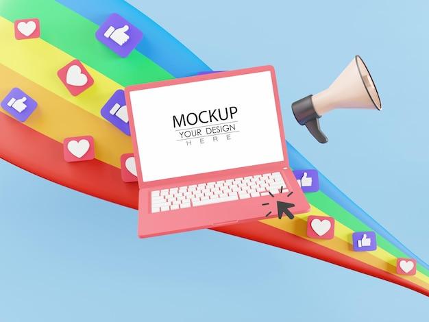 Ordenador portátil de pantalla en blanco con megáfono y arco iris lleno de iconos de redes sociales