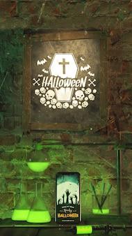 Organizzazione per evento di halloween con cornice