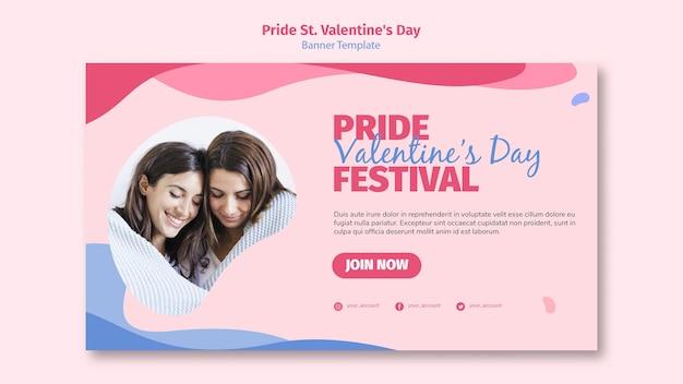 Orgullo st. banner del festival del día de san valentín