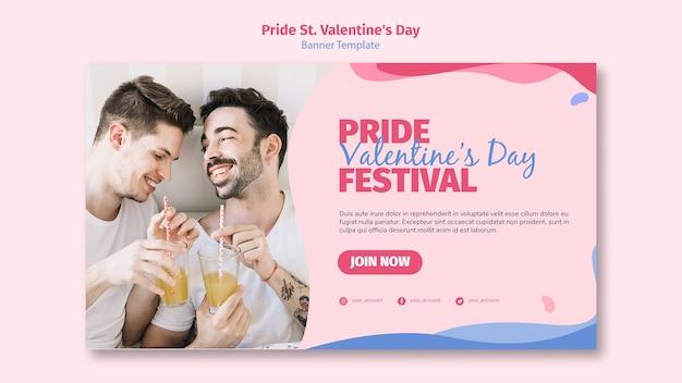 Orgullo st. banner del festival de san valentín con foto