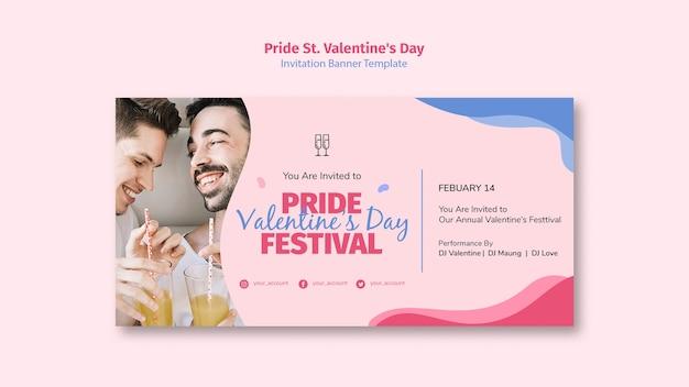 Orgullo st. banner de invitación del festival del día de san valentín