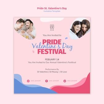 Orgullo st. invitación del festival del día de san valentín