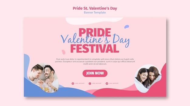 Orgullo st. plantilla de banner del festival del día de san valentín