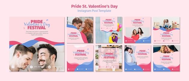 Orgullo st. plantilla de publicaciones del festival de san valentín