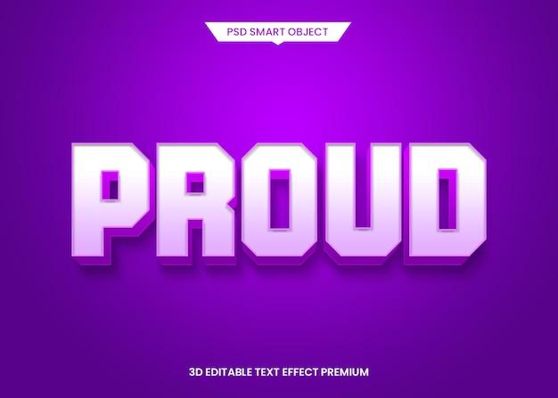 Orgulloso efecto de estilo de texto editable 3d estilo negrita