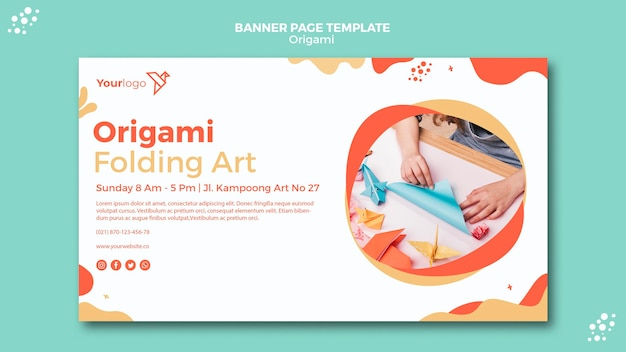 Origami banner sjabloon thema