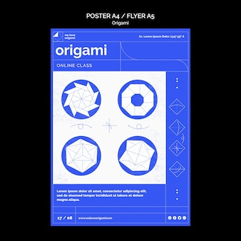 Origami poster sjabloonthema