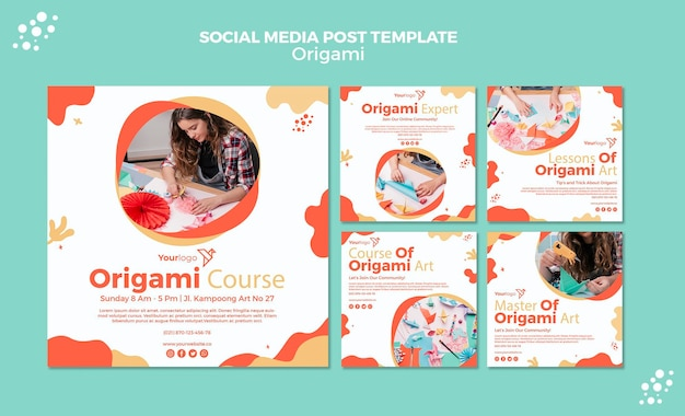 Origami social media postsjabloon