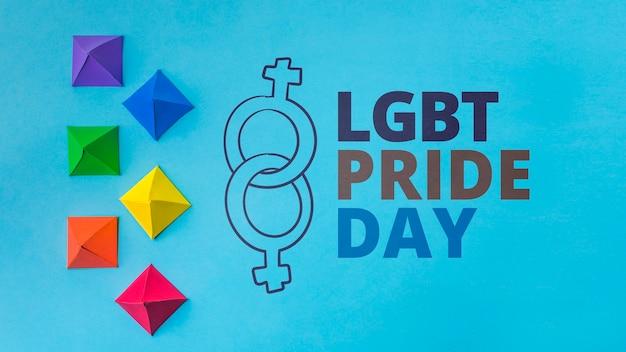 Origami vormt gay pride-mockup