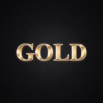 Oro 3d tex y efecto de estilo de texto