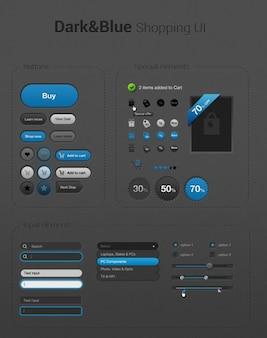 Oscuro y azul iconos de compras simples