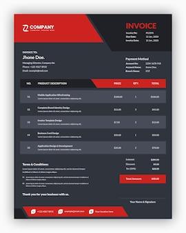 Oscuro corporativo abstracto con diseño de plantilla de factura comercial roja