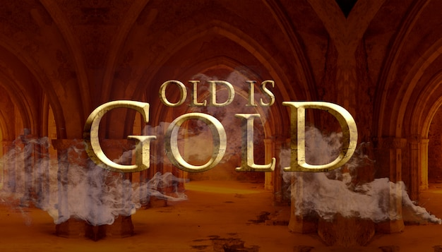 Oud is het effect gouden tekststijl